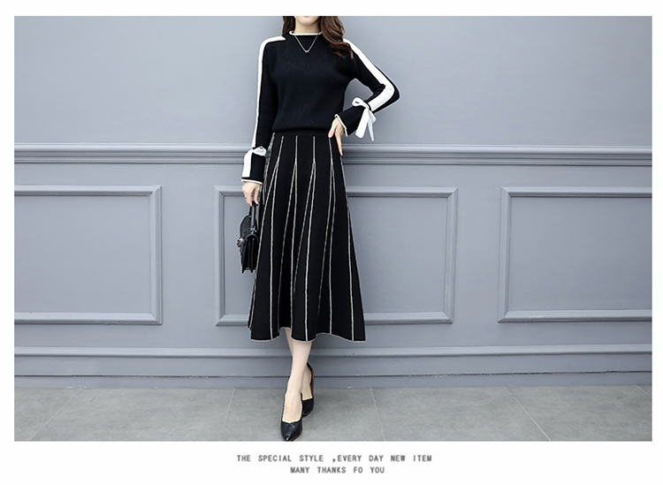 Plus Size Black Women Knitted Two Piece Sets Bow Tie Sweater And Long Skirt Suits Sets Winter Casual Elegant Vintage Ladies Sets 44