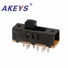 10PCS SS-23F02 2P3T Double pole three throw 3 position slide switch 8 solder lug pin verticle type without fixed