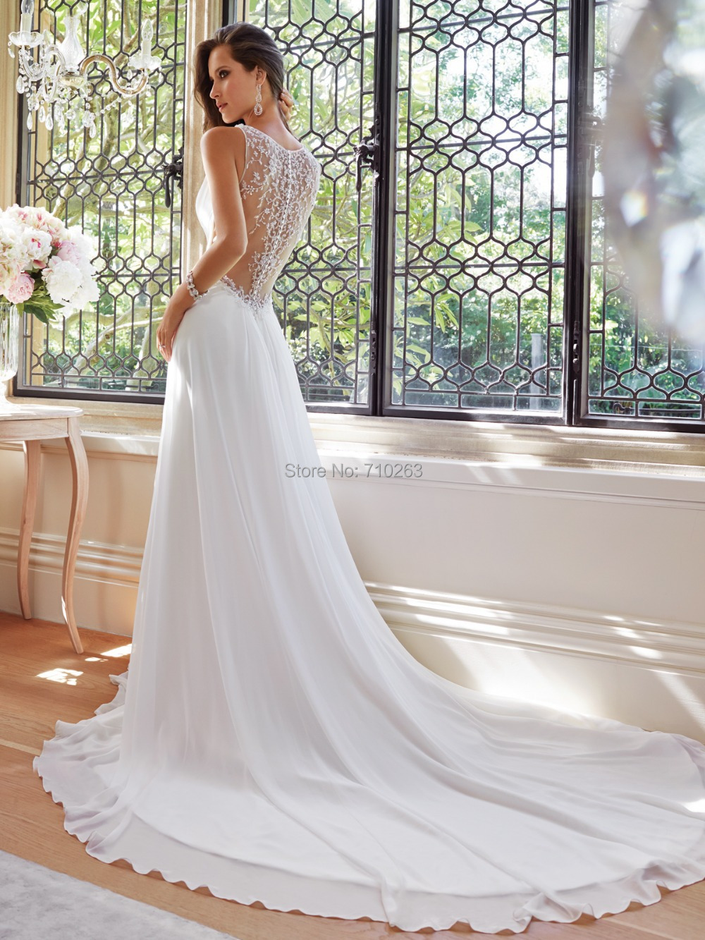 Wedding Dress 8 sheer back wedding dress