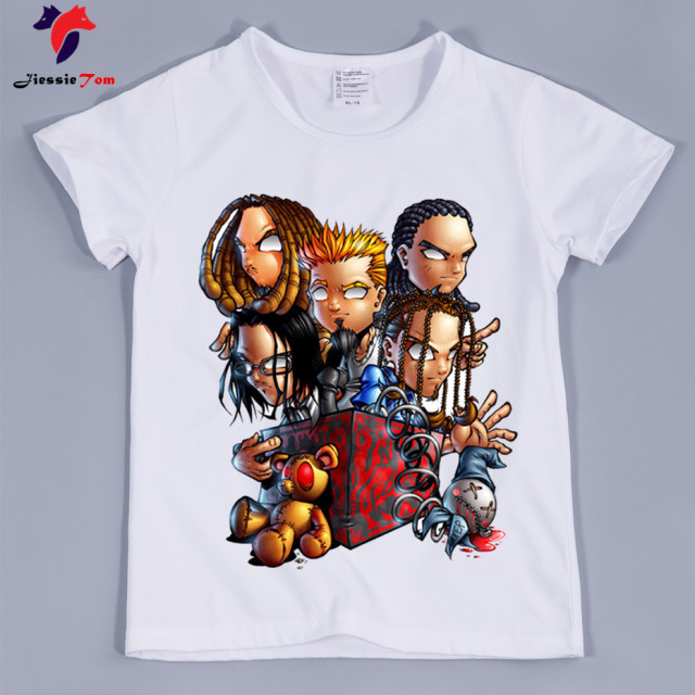 23486ef06 Boy and Girl Korn Printing Metal Rock Band Design Print T shirts ...