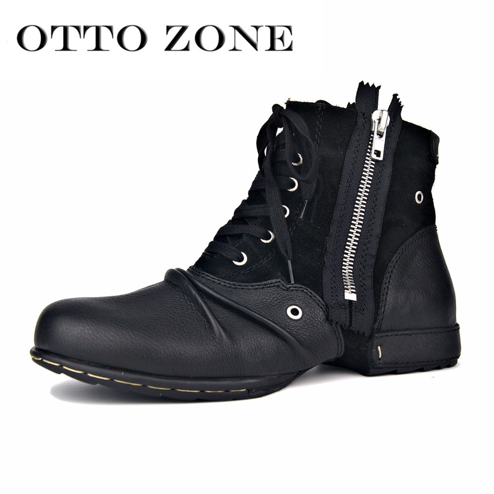 OTTO ZONE Men Boot Genuine Leather Men Shoes Handmade Ankle Boots Superstar Boots Classic Outdoor Winter Shoes Brand Shoes Boot - 3