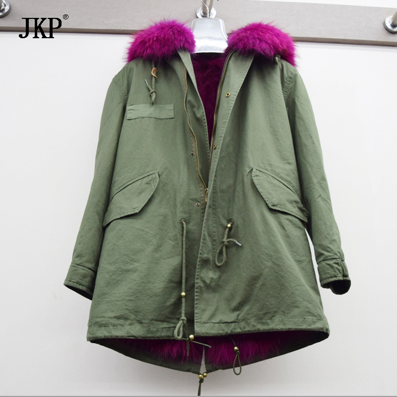 2017 Winter Women Jacket  Army Green long Parka Coats Real Large Raccoon Fur Collar Fox Fur Lining Hooded Outwear kohuijoos 3xl winter women army green large raccoon fur collar hooded coat warm detachable natural fox fur lining parka coats