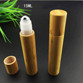 40pcs 15ML Mini bamboo roll on Bottle,plastic or stell ball/Sample Vial,Small Essential Oil roll on bottle Lip oil subpackage