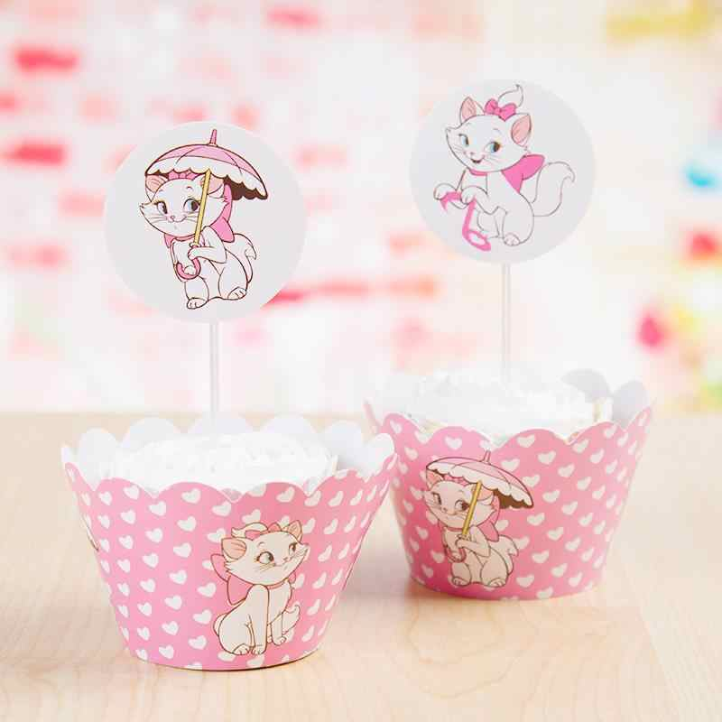 24 Pcs (12 ห่อ + 12 toppers) Marie Cat Cupcake Wrapper เด็กวันเกิดตกแต่งเค้ก Toppers