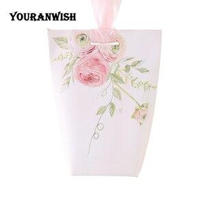 Image 5 - YOURANWISH boîtes cadeaux haut de gamme personnalisées pour mariage, bricolage, boîtes à bonbons à fleurs roses pour fête de bébé, lot de 50 pièces