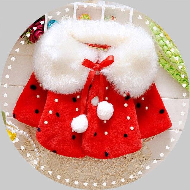 Winter Cute Baby Princess Girl Coat Toddler Girl Clothing Dot Beading Christmas Jacket For Girls Fashion Outwear Baby Clothing