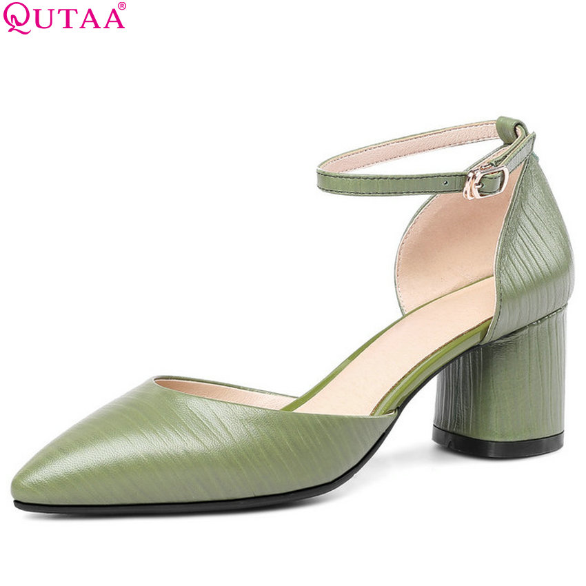 QUTAA 2018 Women Pumps Sheep Skin +pu Women Shoes Platform Buckle Square High Heel Pointed Toe Casual Ladies Pumps Size 34-43 стоимость
