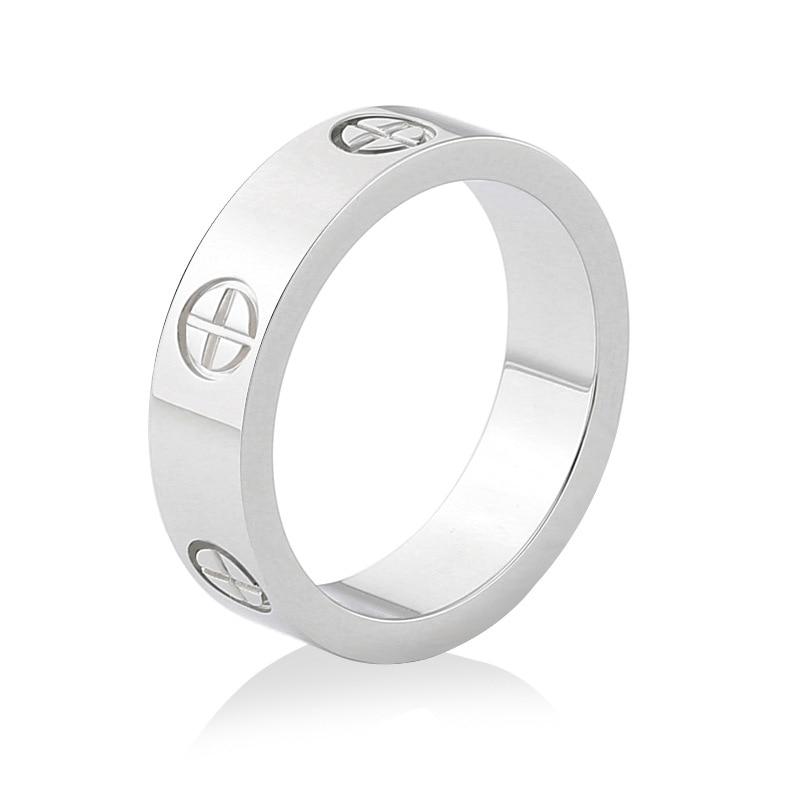 Розовое золото, кольцо из нержавеющей стали с кристаллом для женщин, ювелирные кольца для мужчин, обручальные кольца для женщин, подарки для помолвки - Цвет основного камня: sliver no crystal