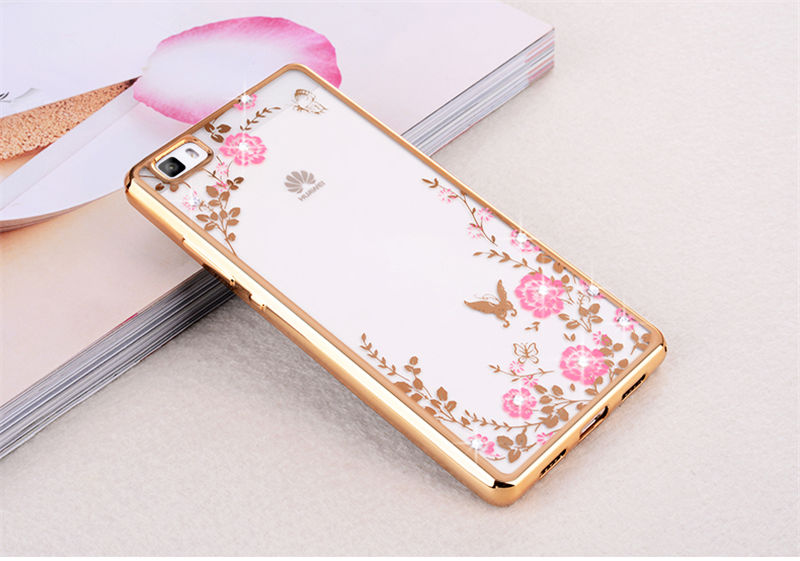 FLOWER CASE Huawei P8 Lite ALE-L21 Casing Bunga Softcase Jelly Back Cover Diamond Electroplating Bumper Secret Garden
