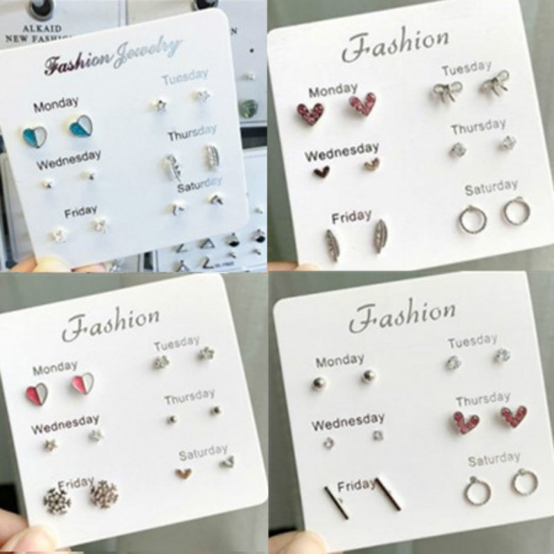 RONGBIN 6 Pair/set, Earrings for Women Leaf Stars Heart Crytal Cute Earrings Fashion Jewelry Monday To Saturday 6 Pairs Earrings