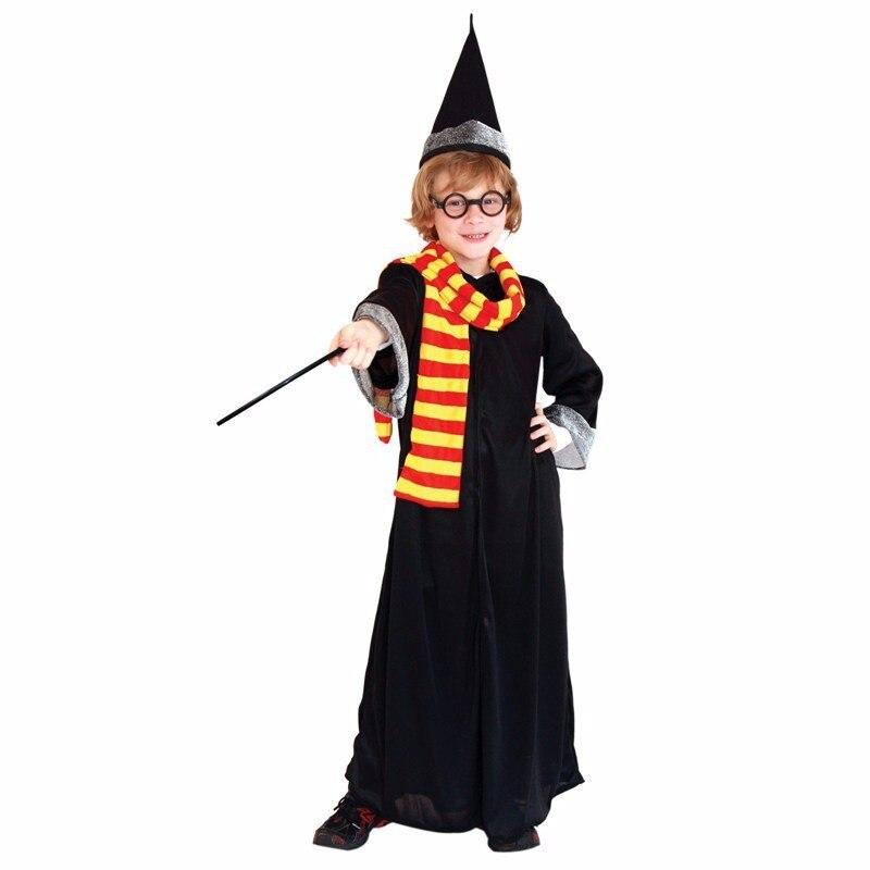 Boys Kids Children magician Cloak Costume Gryffindor Enchanter Cosplay Costume Magic Wand Halloween Costumes