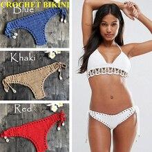 CROCHET BIKINI 2019 Women Sexy Crochet Bikini Bottom Boho Thong Swimwear Handmade Swimsuit Knitting Shorts  L M S