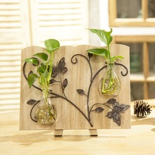 3 Types Pastoral Style Glass Tabletop Plant Bonsai Flower Vases With Wooden Tray And Blackboard Home Wedd Decoration Accessories