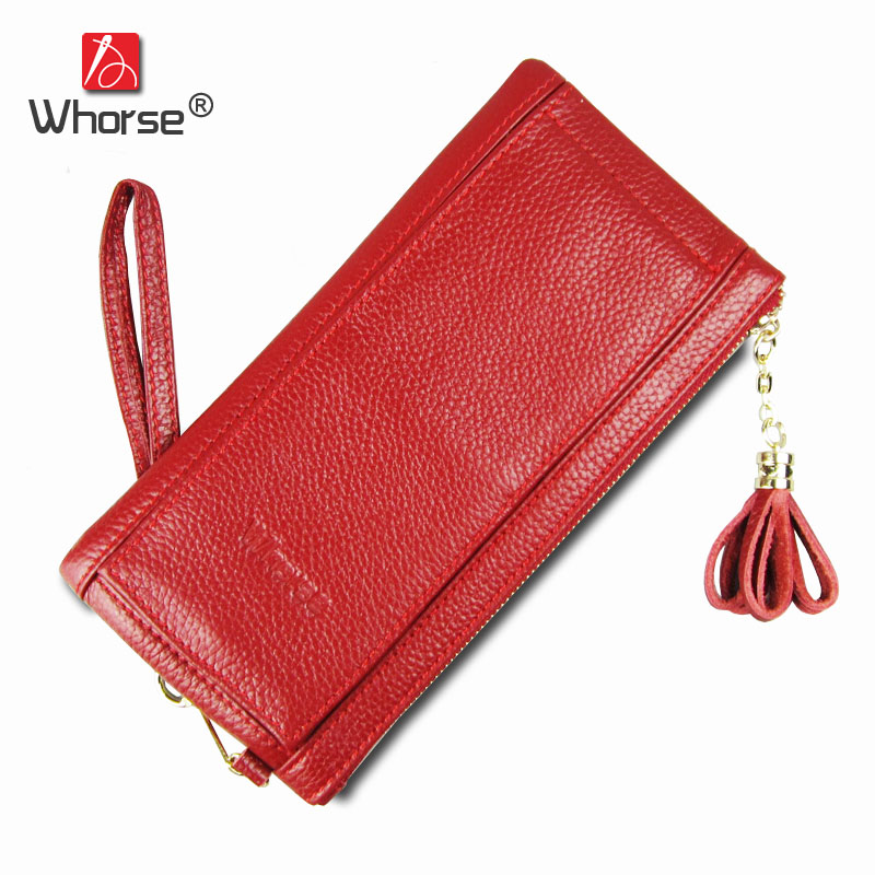 [WHORSE] Fashion Tassel Wallet Women Luxury Famous Brand Genuine Leather Ladies Walets Women's Cowhide Purse Card Holder WB0610 simline fashion genuine leather real cowhide women lady short slim wallet wallets purse card holder zipper coin pocket ladies