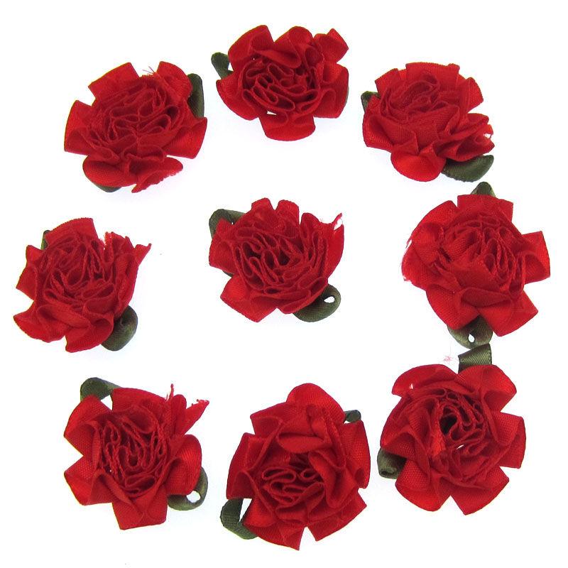 30pcs 1 Red Carnation Satin Fabric Flowers Leaf Ruffle flowers Appliques Sewing Wedding Hair Accessories 25mm