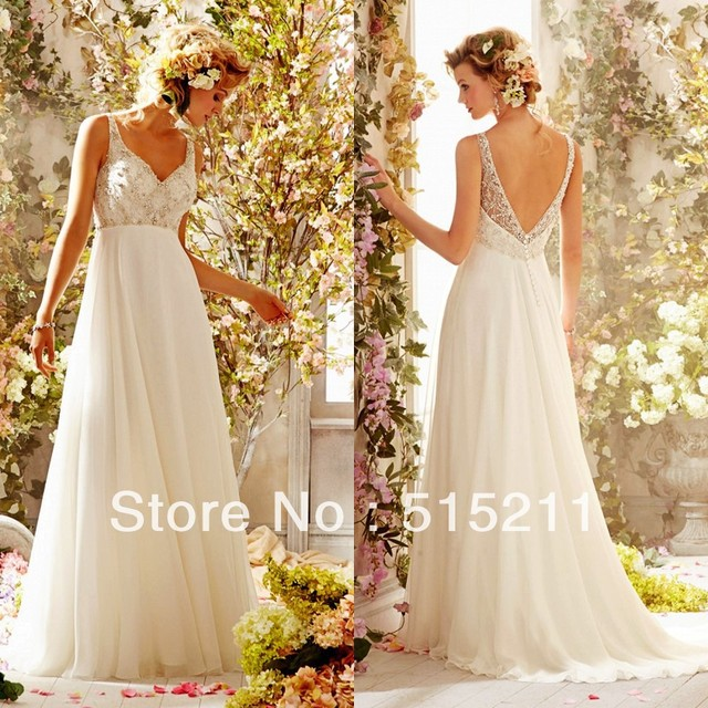 Sexy Spaghetti Straps V Neck Low Back Ivory Chiffon Beach Wedding Dresses Destination
