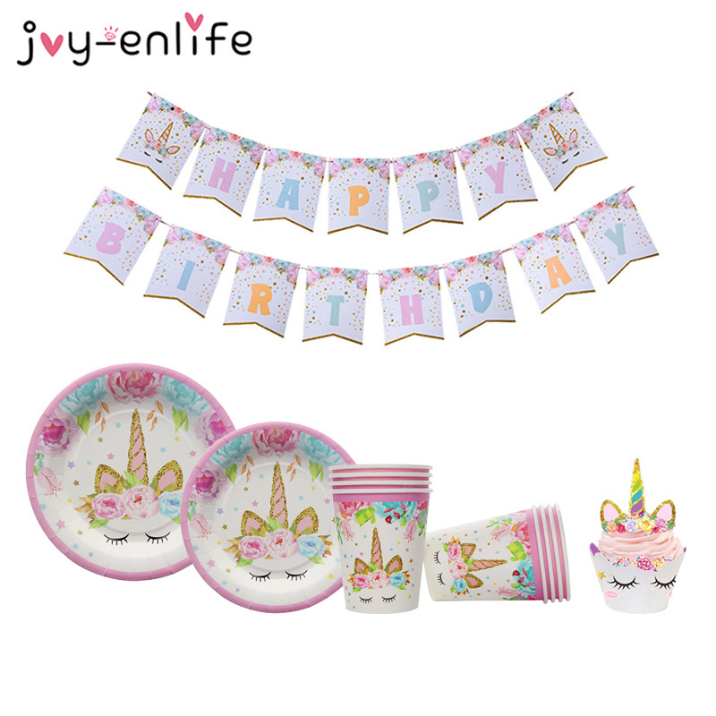 JOY-ENLIFE Unicorn Party Decor Birthday Latex Balloon Unicorn Tableware Paper Hat Napkins Plate Table Cloth Happy Birthday Gift цены