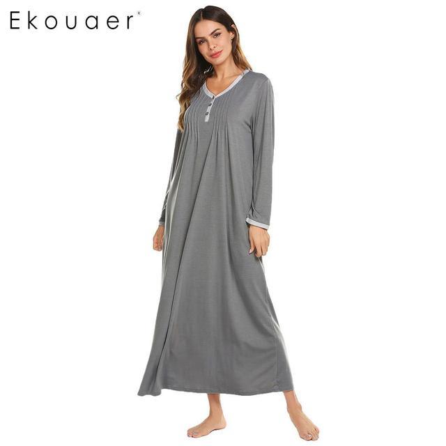 6b67ca6a64 Ekouaer Long Chemise Nightgown Sleep Lounge Dress Sleepwear Women Casual  O-Neck Long Sleeve Front Pleated Nightdress Sleepshirts