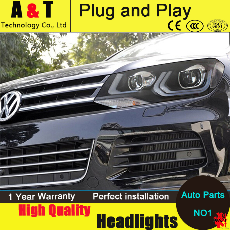 Auto Lighting Style Head Lamp for VW Toureg led headlights 2011-2015 Double Angel eye led drl H7 hid Bi-Xenon Lens low beam auto clud style led head lamp for benz w163 ml320 ml280 ml350 ml430 led headlights signal led drl hid bi xenon lens low beam
