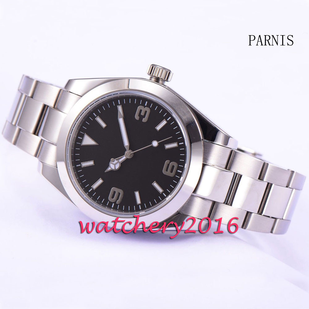 Parnis 40mm black dial luminous hands full stainless steel automatic movement Men's Watch 40mm parnis white dial vintage automatic movement mens watch p25