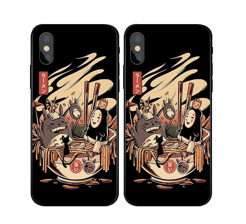 Spirited Away Ghibli Miyazaki Anime Kaonashi Case For iphone X7 8 Black silicone case For Samsungs7 s8 s9 Ramen pool party Case