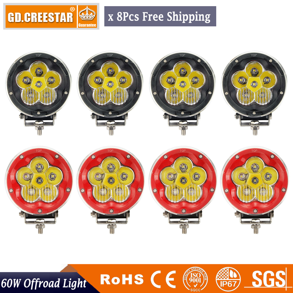 8Pcs Round Headlight 5 60W 6pcs 10W Chips Combo Beam 12V 24V LED Driving Light With White Clear Cross Cover For SUV ATV 4WD 4x4 зимняя шина nokian hakkapeliitta 8 suv 265 50 r20 111t