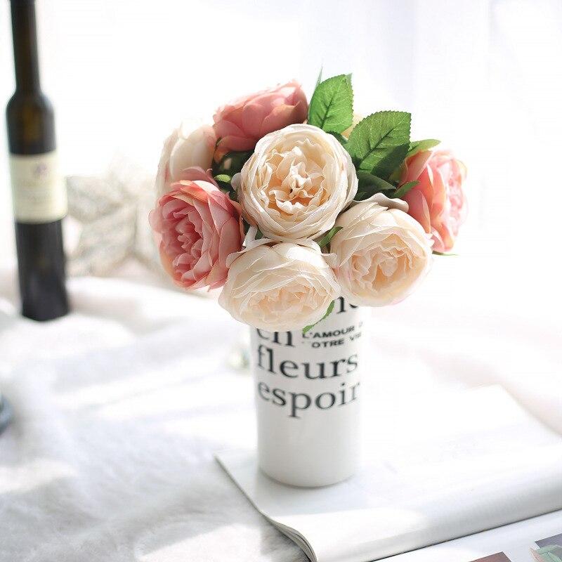 1 Bouquet 5 Heads Vintage Artificial Peony Silk Flower Wedding Home Decor Party Decoracion Artificial Roses Wedding Decoration