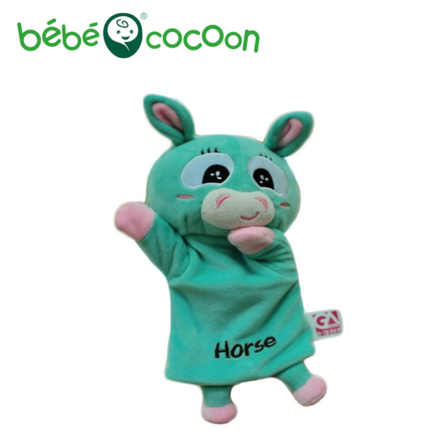 bebecocoon NEW Unisex Child Kids Cute Plush Velour Lovely Horse Animals Hand Puppets Chic Designs Learning Aid Toys Dolls