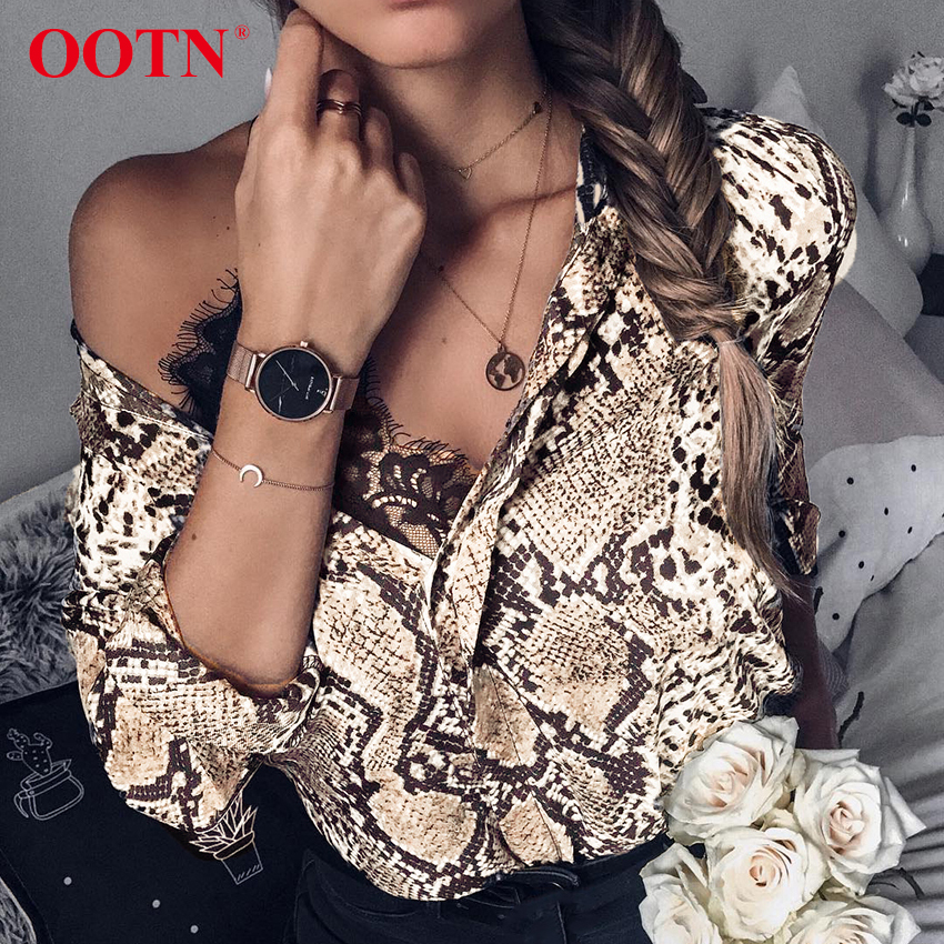 OOTN Snake Silk Shirt Long Sleeve Womens Tops And Blouses Office Summer Satin Blouse Ladies Vintage Animal Print 2019 Fashion short dresses office wear