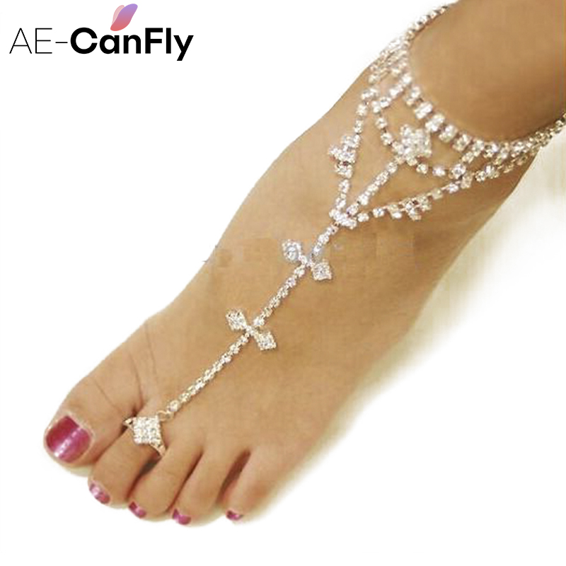 AE-CANFLY Wedding Toe Ring Anklet Rhinestone Barefoot Sandals Fashion Anklets for Women 1PC 1K4008