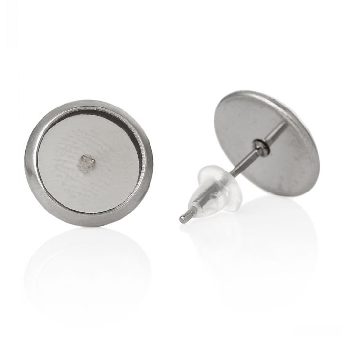 Doreen Box Stainless Steel Blank Setting Earrings Post Round Silver Tone  Cabochon Settings(Fit 6mm 44de737a1dee