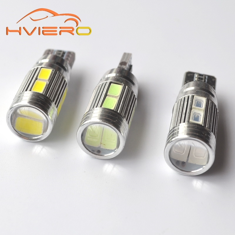 2Pcs T10 5630 10Led Canbus Car Led Xenon W5W 194 No Obc Error turn wedge Bulb side lamp License Plate lights DC 12V Car Styling car led 1pcs t10 194 w5w dc 12v canbus 6smd 5050 silicone shell led lights bulb no error led parking fog light auto car styling