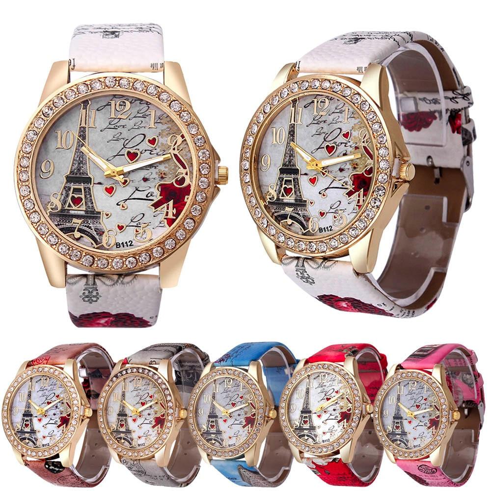 2017 LOVE Heart Watch New Vintage Paris Eiffel Tower Women's Quartz Watch Women Girls Ladies Students Casual Wristwatch Relojes