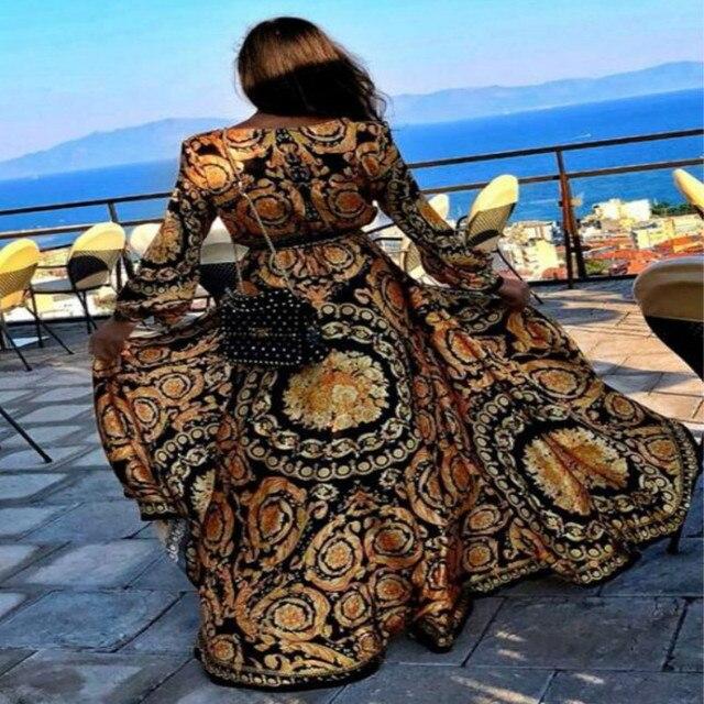 فستان نسائي صيفي طويل جذاب بتصميم بوهو فستان ماكسي مطبوع أنيق بأكمام طويلة موديل 2019 فستان حفلات كلوب من Shein