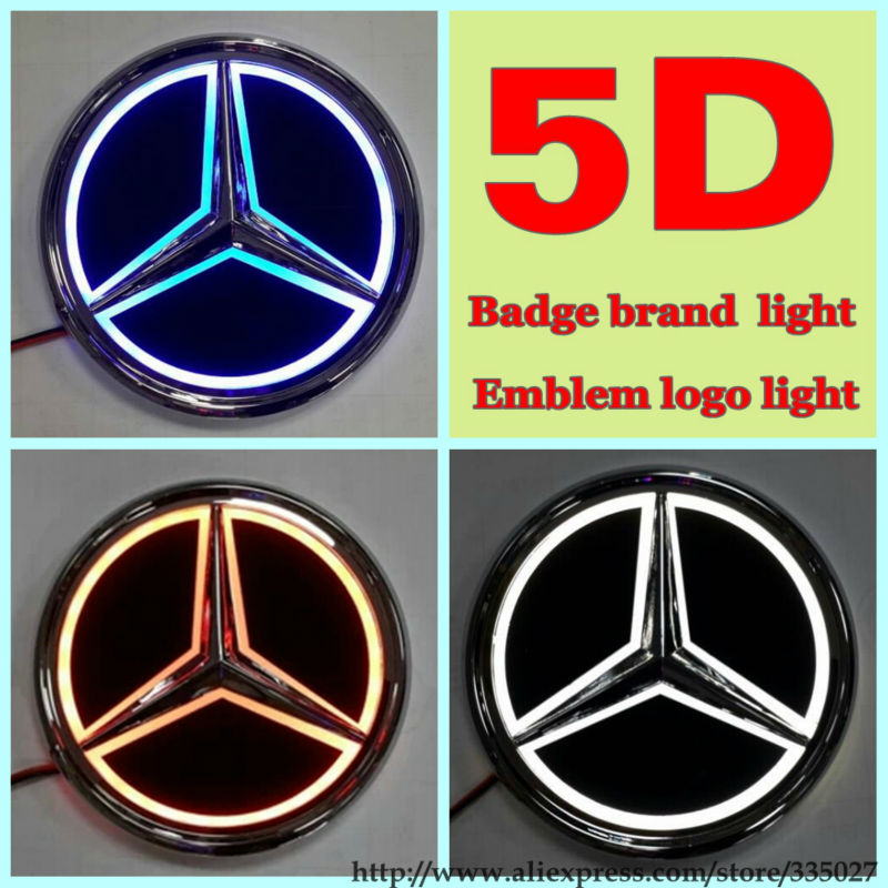 2014 new arrival 5d car badge brand logo emblem light for for Mercedes benz symbol light
