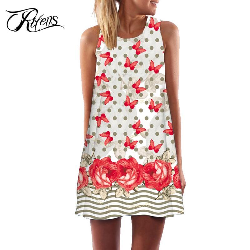 dc218e97dc00 2018 Summer Dress Women Floral Print Chiffon Dress Sleeveless Boho Style  Short Beach Dress Sundress Casual Shift Dresses Vestido