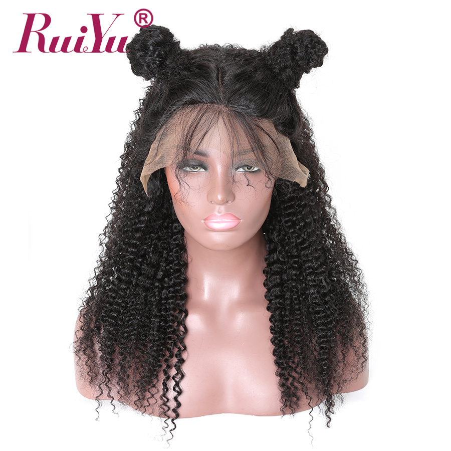 Parukë flokësh me flokë të dredhur Kinky RUIYU Dantella të - Flokët e njeriut (të zeza) - Foto 2