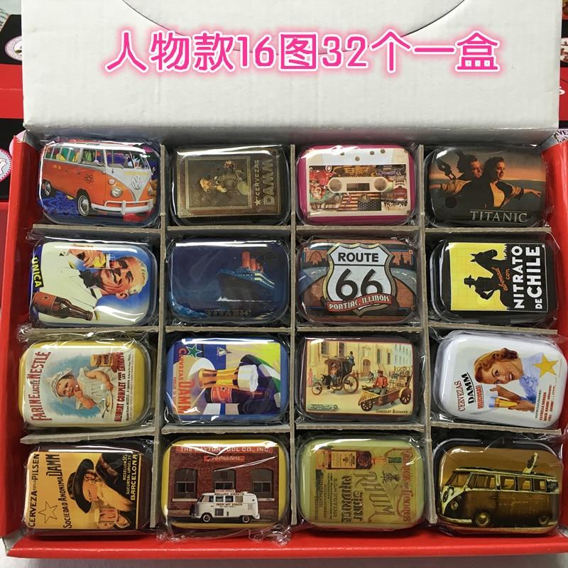 Zakka style colorful retro tin box packing box jewelry boxes mini Storage boxes 16 patterns*2 32pcs / set~
