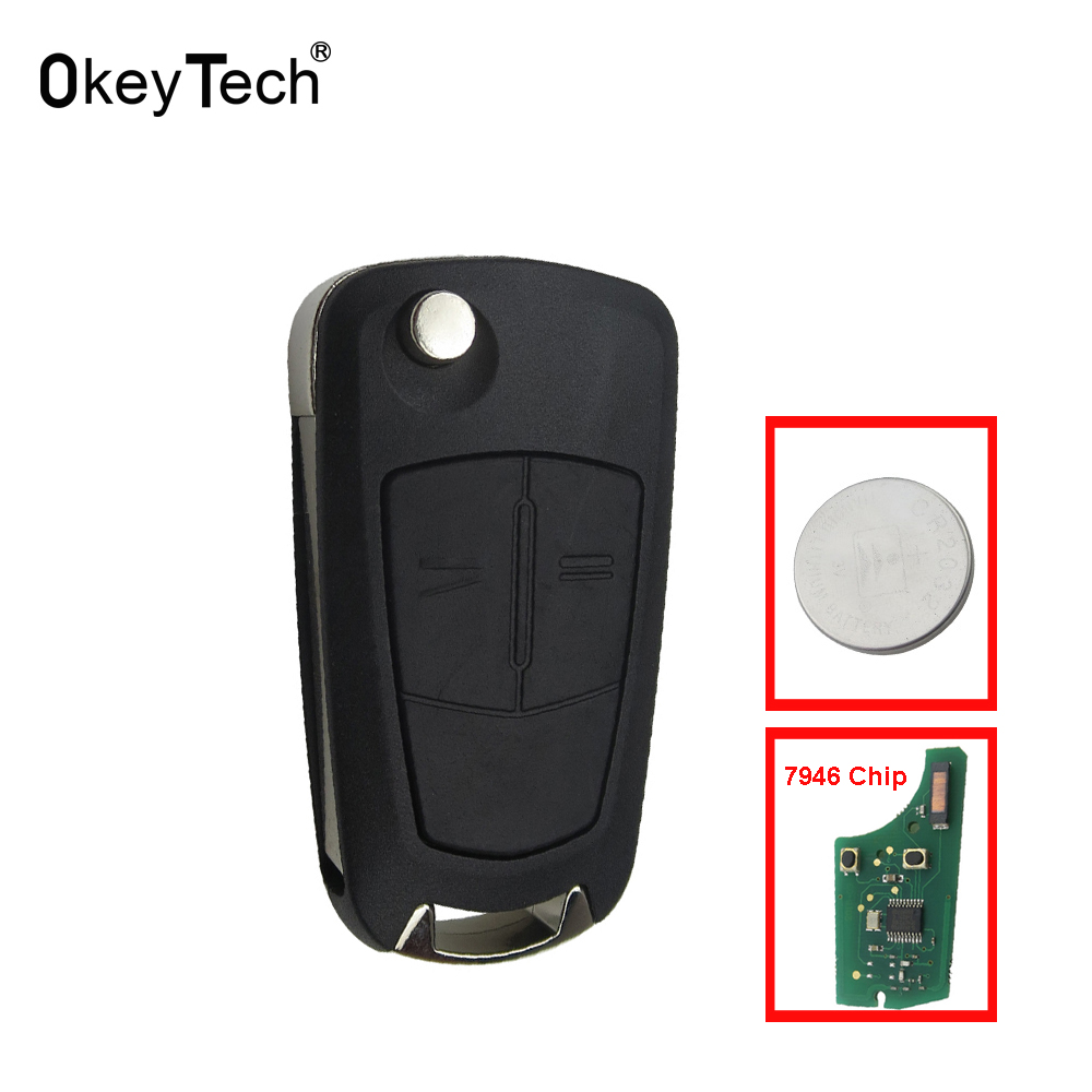 OkeyTech For Opel Key 3 Button Flip Floding Remote Control Auto Car Key Fob Case 433MHZ For Opel Vectra C With PCF7946/7941 Chip