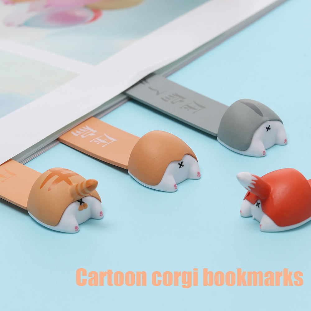 Lovely Cartoon Corgi Hamster Fox Ass Bookmarks Novelty Book Reading Gift for Kids Stationery Student Favors Dog Cat Book Markers