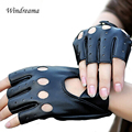 Fashion Women Gloves Half Finger Driving PU Leather Fingerless Gloves For Women Black