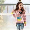 Striped T-Shirt For Girls Cotton Kids Top O Neck Hamburg Print T-Shirt Long Sleeve Girl Clothes 2017 Fashion Children's T-shirts