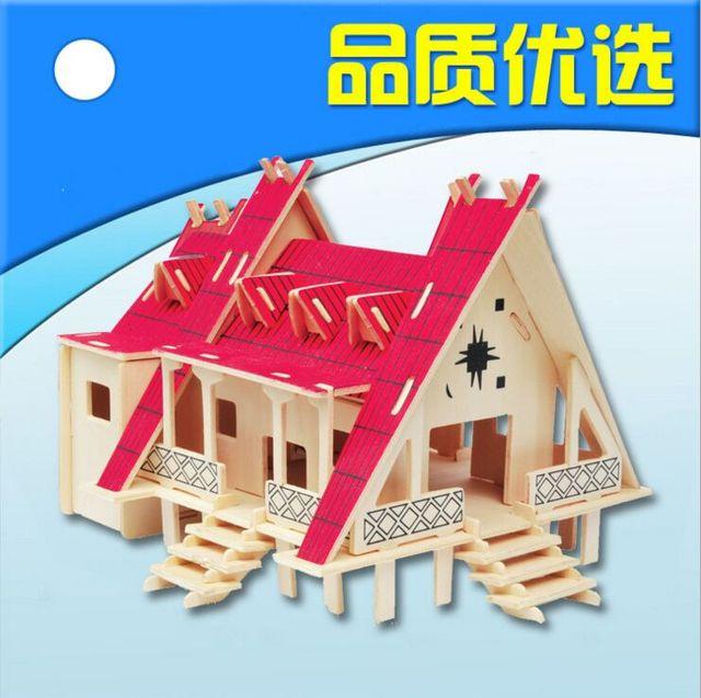 3D Puzzle Basswood Simulation Model Thai Style House DIY Hut Creative Gift  Children Assembled Puzzle Toys
