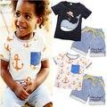 2016 Ocasional Do Verão Do Bebê Dos Miúdos Meninos Roupas de Manga Curta Dos Desenhos Animados Tubarão/Anchor Impresso Tops T-shirt + Listrado calções Roupas 1-7A