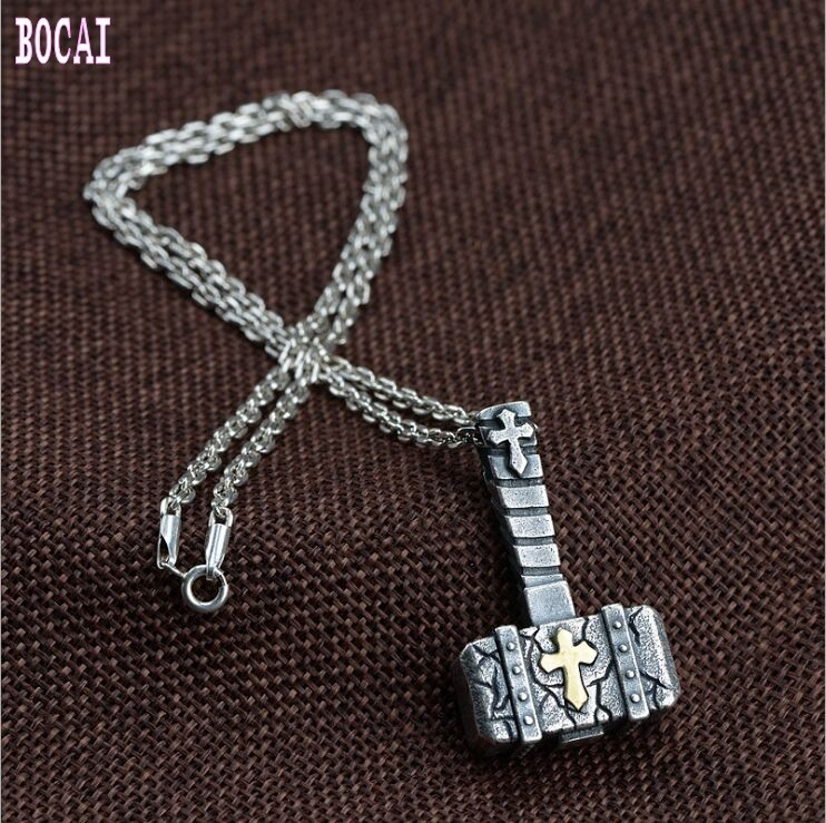 100% real S990 solid sterling silver retro silver-copper combination process double-sided silver hammer men's silver pendant