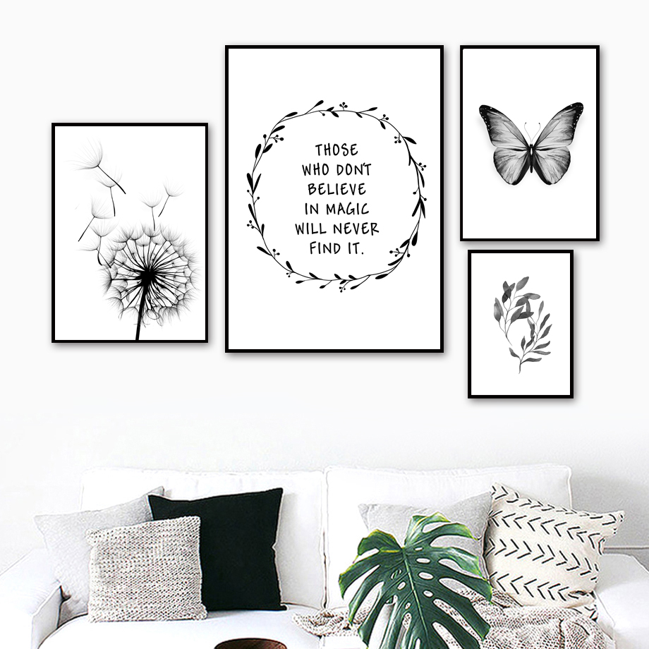 Dandelion Butterfly Wall Art Canvas Painting Nordic Poster And Prints Wall Picture For Living Room Scandinavian Home Decor in Painting Calligraphy from Home Garden