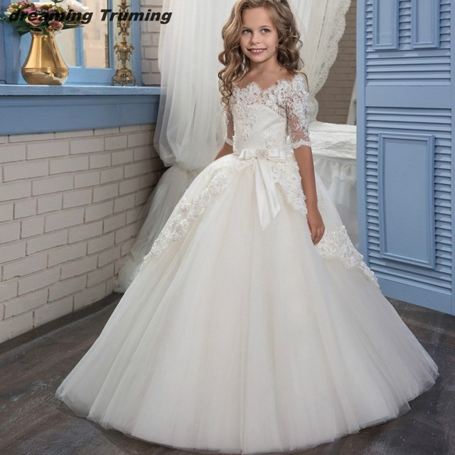 Glitz 2019 Holy Communion Dresses For Girls Half Sleeves Lace Appliques  Pageant Ball Gown Kids Dresses For Flower Little Girls 7833c7510b85