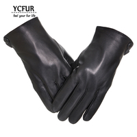Genuine Leather Gloves Men Winter Glove Female High Quality Real Sheep Leather Mittens Men Genuine Sheepskin