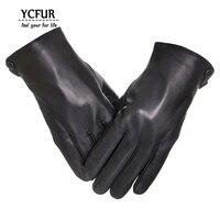 Genuine Leather Gloves Men Winter Glove Female High Quality Real Sheep Leather Mittens Men Genuine Sheepskin
