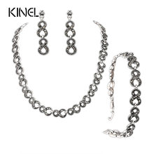 Gorgeous 3Pcs Gray Crystal Jewelry Sets Silver Plated Retro Unlimited Bracelets And Necklaces Engagement Earrings For Ladies(China)